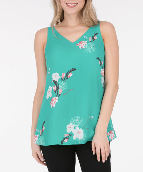 Criss-Cross Double-V Sleeveless Blouse, Teal/Watermelon/Silver Grey, hi-res