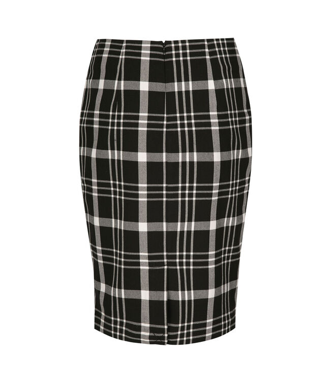 Plaid Tri-Blend Pencil Skirt, Black/White/Charcoal, hi-res