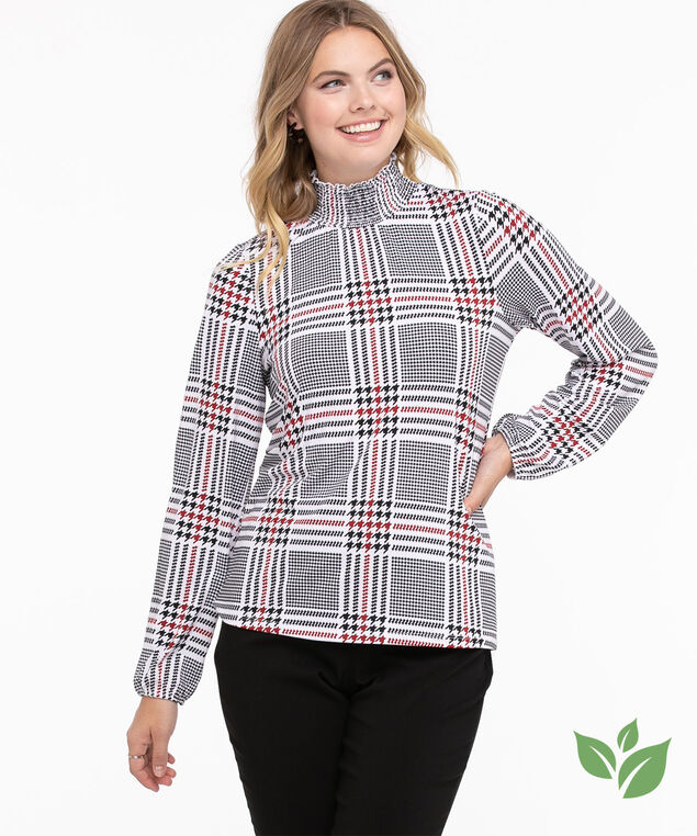 Eco-Friendly Smocked Neck Top, Ivory/Black/Red Houndstooth