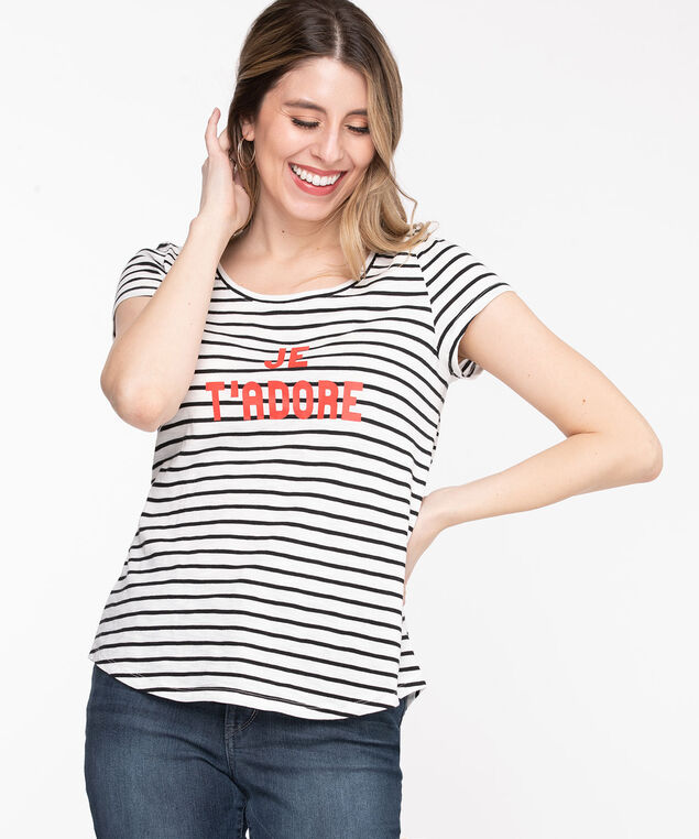 Scoop Neck Shirttail Graphic Tee, Black/White Stripe