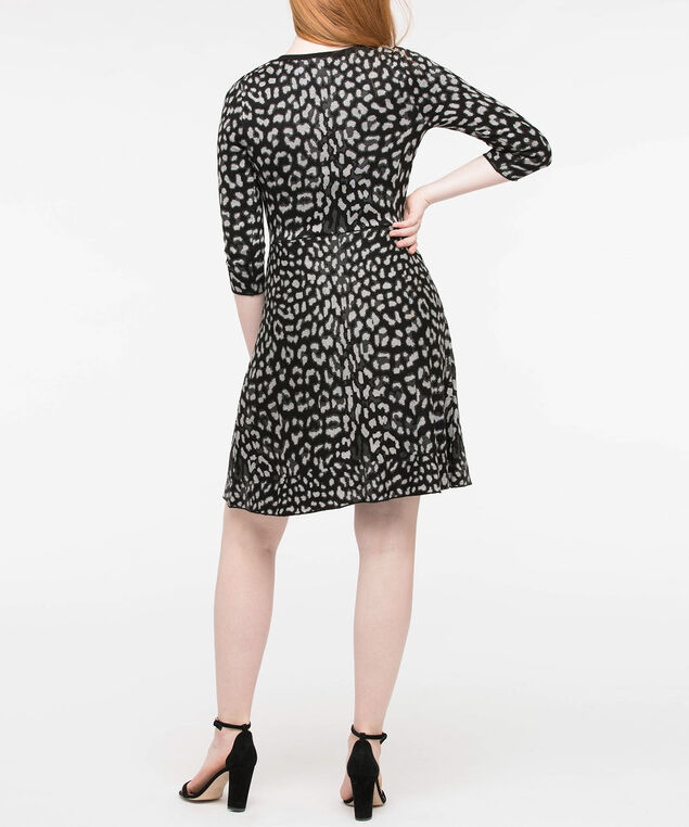 Jacquard Animal Print Sweater Dress, Black/Grey, hi-res