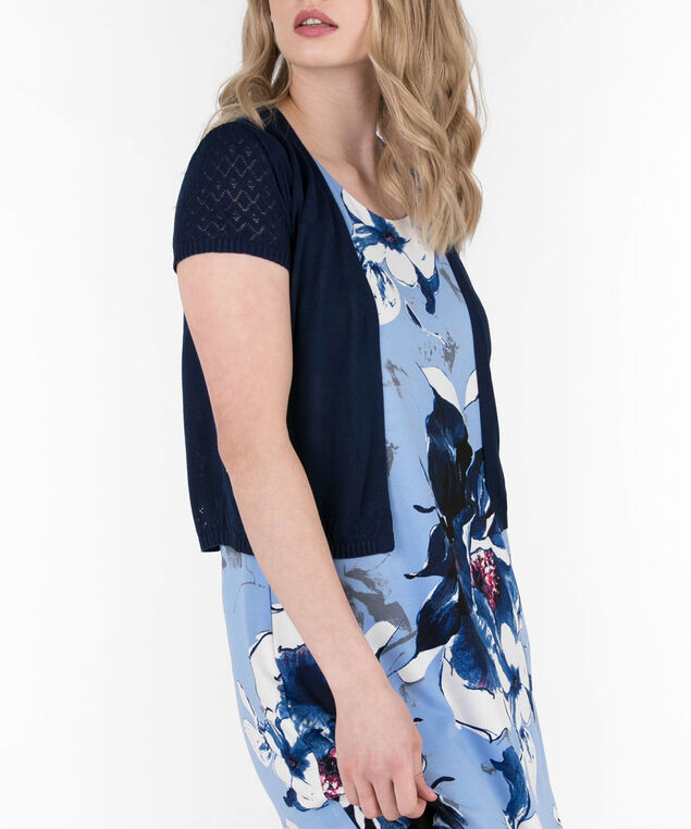 Pointelle Short Sleeve Cardigan, Deep Sapphire, hi-res