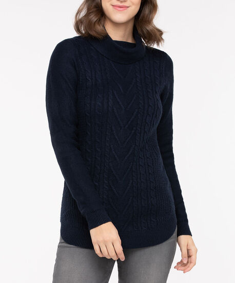 Rounded Hem Cowl Neck Sweater, True Navy, hi-res
