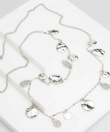 Stationed Crystal Disc Necklace, Rhodium, hi-res
