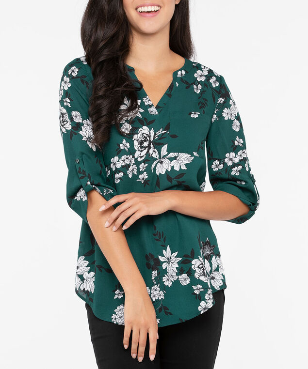 Roll Sleeve Henley Blouse, Ivy/Black/Pearl, hi-res