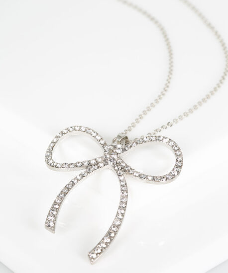Crystal Bow Pendant Necklace, Rhodium, hi-res