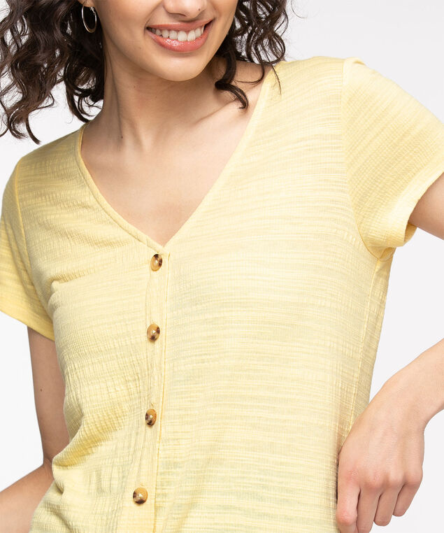 Button Up Tie Front Top, Popcorn