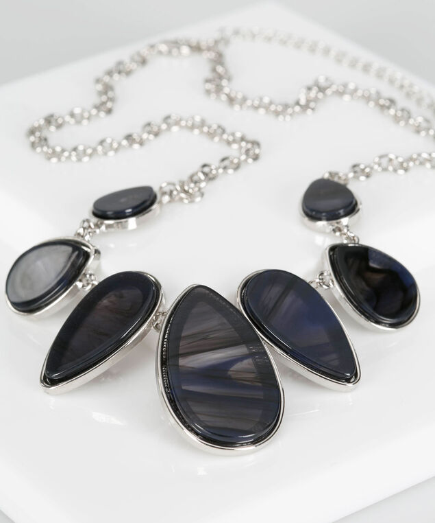 Resin Teardrop Statement Necklace, Rhodium/Deep Sapphire, hi-res