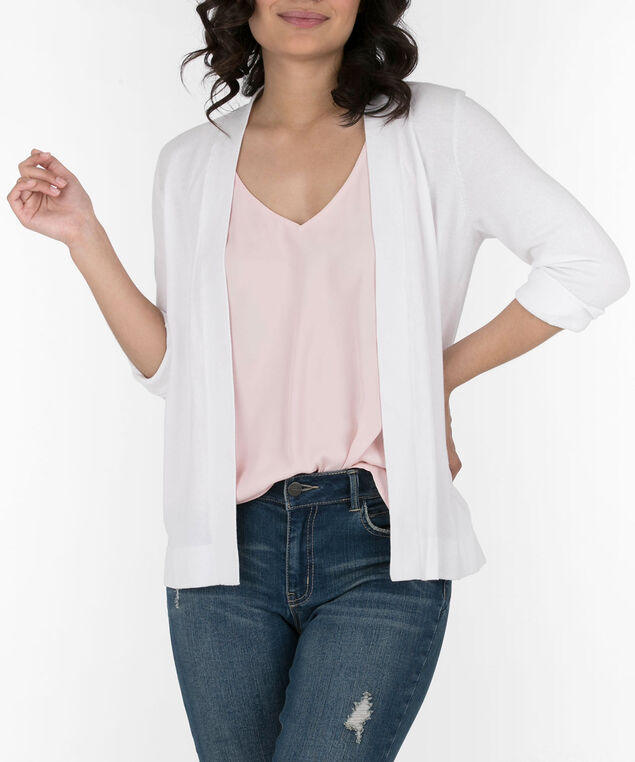 Cinch-Back Open Cardigan, True White, hi-res