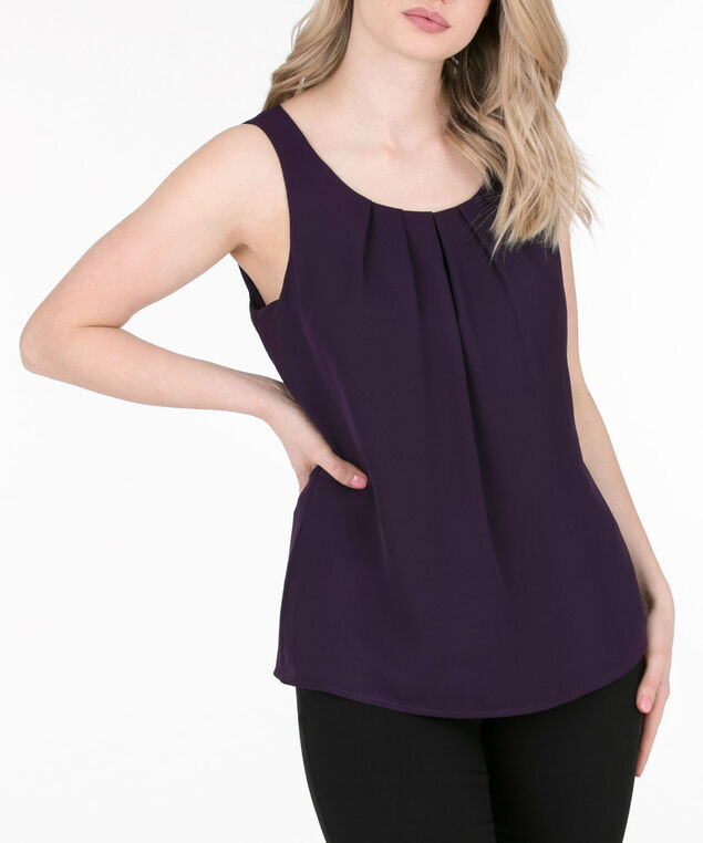 Pleat Front Sleeveless Blouse, Deep Purple, hi-res