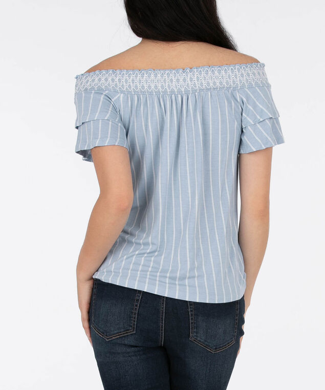 Striped Off-The-Shoulder Knit Top, Chambray/Milkshake, hi-res