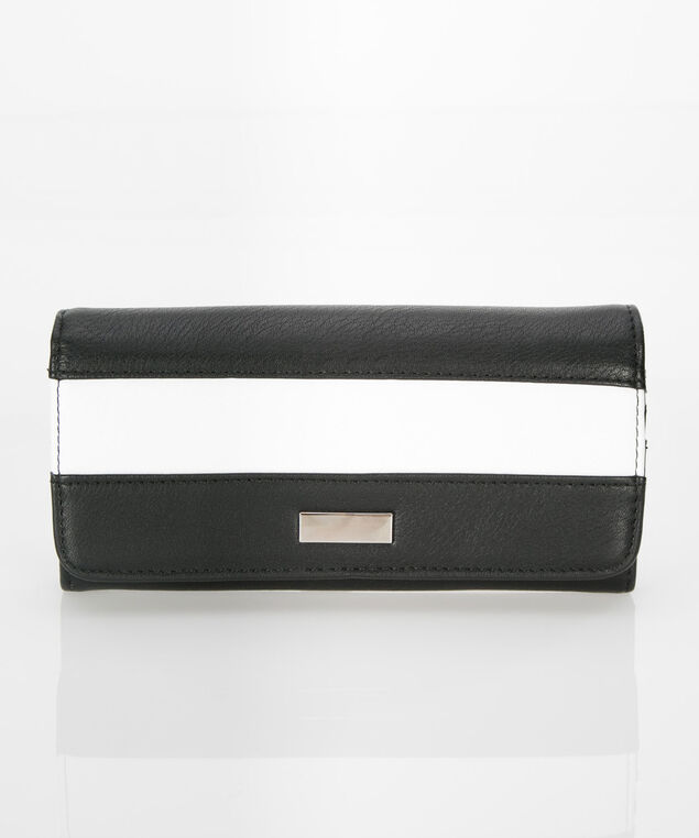 Colourblock Flap Wallet, Black/True White, hi-res