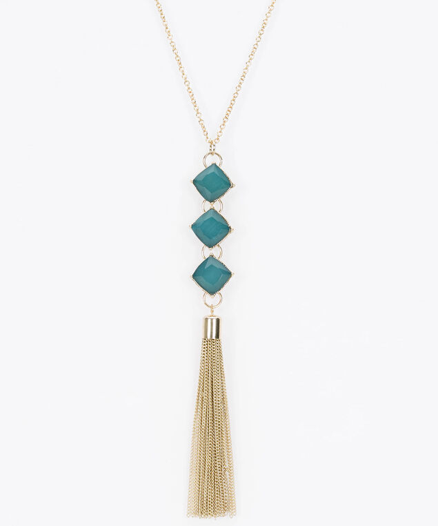 Stacked Faceted Stone & Tassel Necklace, Ivy/Soft Gold, hi-res