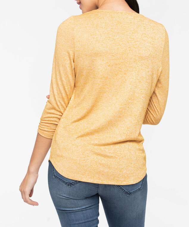 Zipper Front 3/4 Sleeve Top, Mustard, hi-res