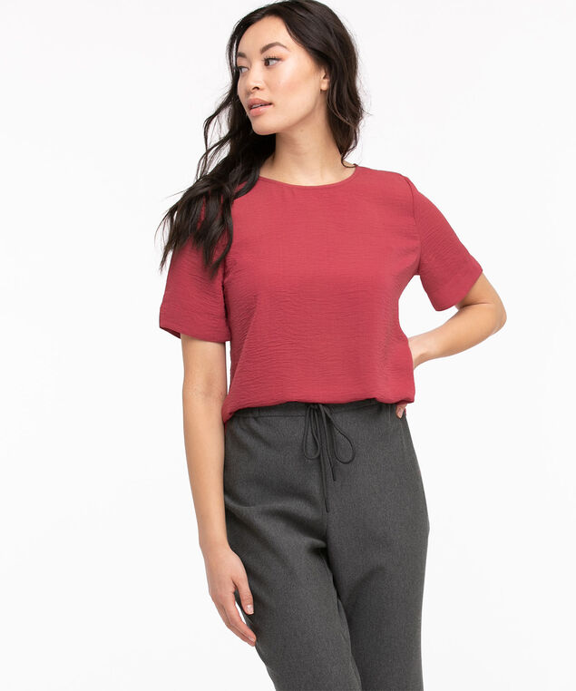 Essential Short Sleeve Blouse, Earth Red
