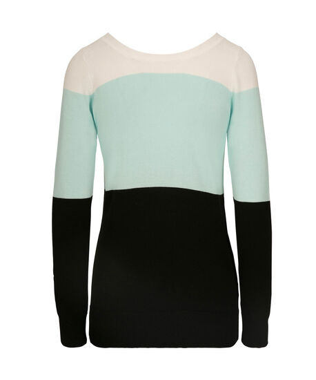 Lace-Up Back Pullover Sweater, Pearl/Black/Mint, hi-res
