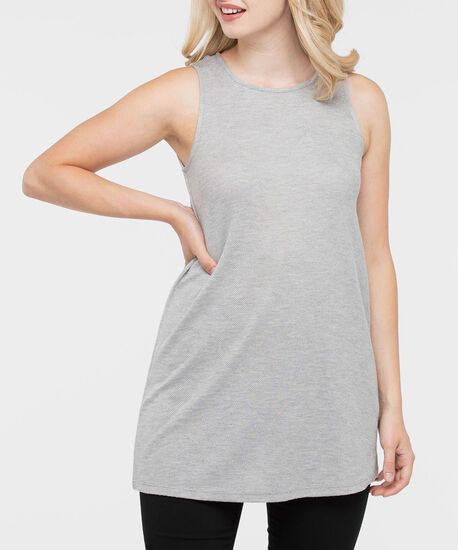Sleeveless Swing Tunic Top, Light Heathered Grey, hi-res