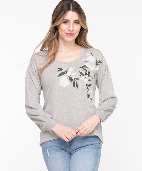 Embroidered Balloon Sleeve Sweatshirt, Grey, hi-res