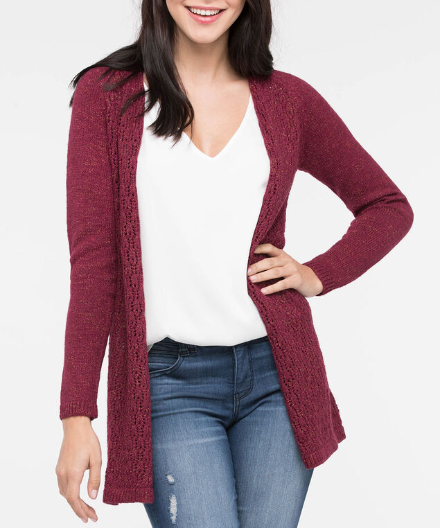 Lace Up Back Open Cardigan, Burgundy, hi-res