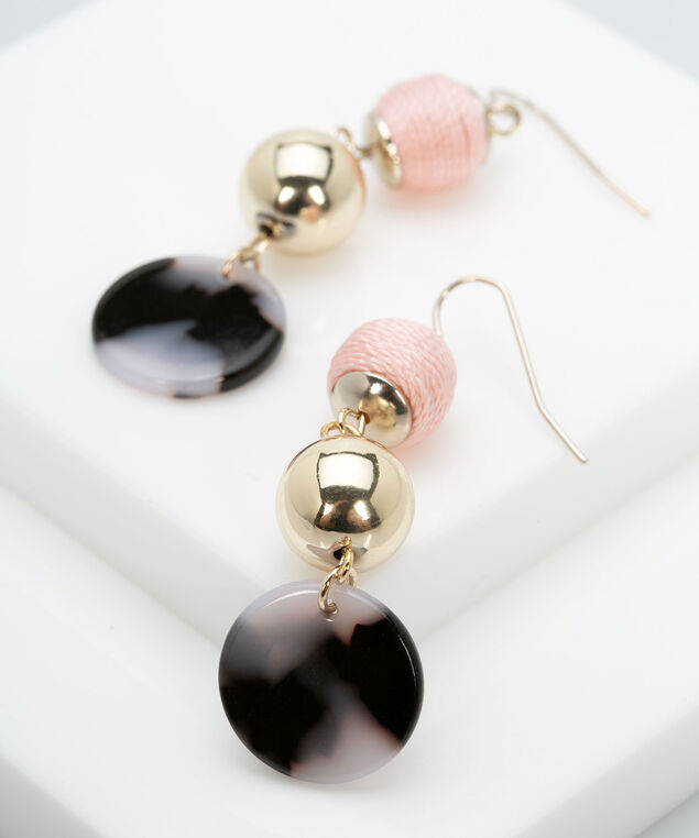 Wrapped Ball & Resin Disc Earring, Gold/Dusty Blush/Black, hi-res