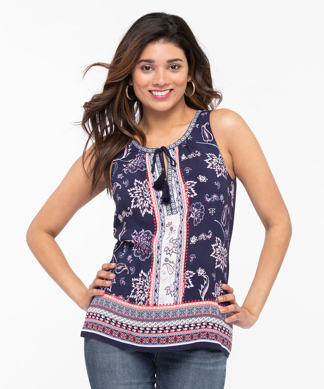 Sleeveless Mixed Media Top, Summer Navy/Peach/Bellini, hi-res