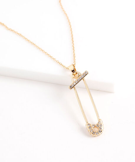 Crystal Safety Pin Necklace, Gold, hi-res