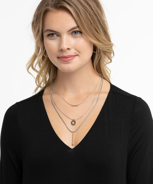 Layered Circle & Post Necklace, Silver/Gold