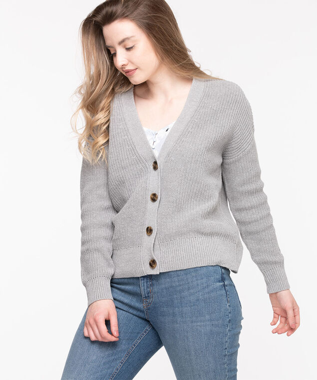 Ribbed Knit Button Front Cardigan, Frost Gray