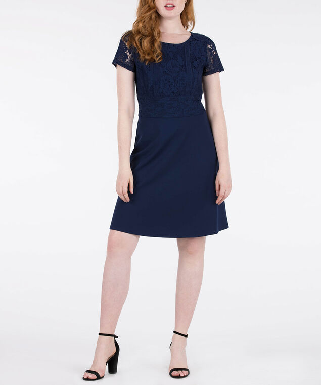 Short Sleeve Lace Bodice Dress, Deep Sapphire, hi-res