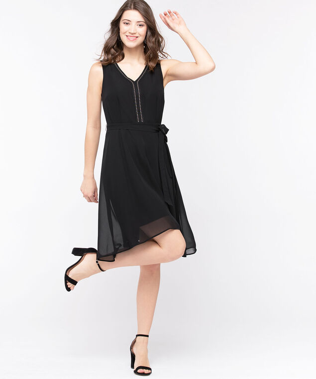 Studded Sleeveless Fit & Flare Dress, Black, hi-res