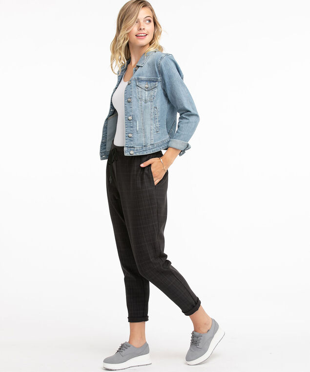 Luxe Ponte Tapered Drawstring Pant, Charcoal Plaid