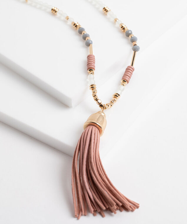 Long Beaded Chain Tassel Necklace, Gold/Pink