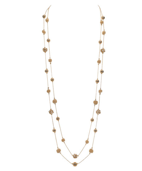 Stationed Fireball & Coiled Bead Necklace, Clear/Rose Gold, hi-res