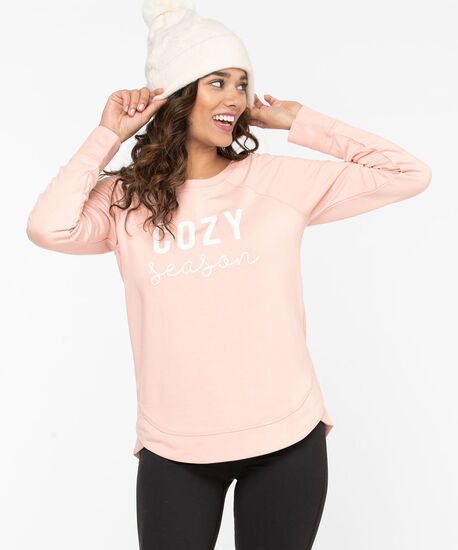 Graphic French Terry Pullover, Rose Smoke/Pearl, hi-res