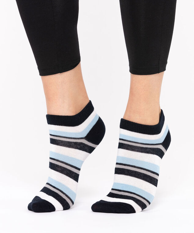 Stripe Pattern Ankle Socks, Black/Pale Blue/Pearl, hi-res
