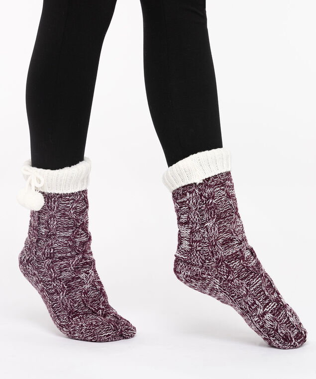 Chunky Knit Reading Socks, Berry/Pearl, hi-res