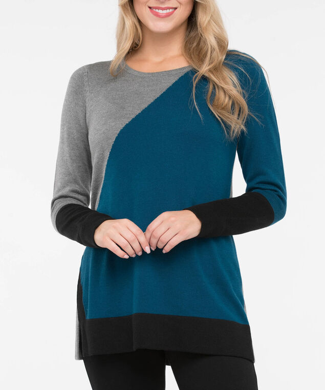 Asymetrical Colourblock Pullover Sweater, Heather Grey/Steel Blue/Black, hi-res