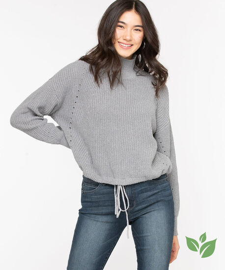 Eco-Friendly Drawstring Sweater, Light Grey, hi-res