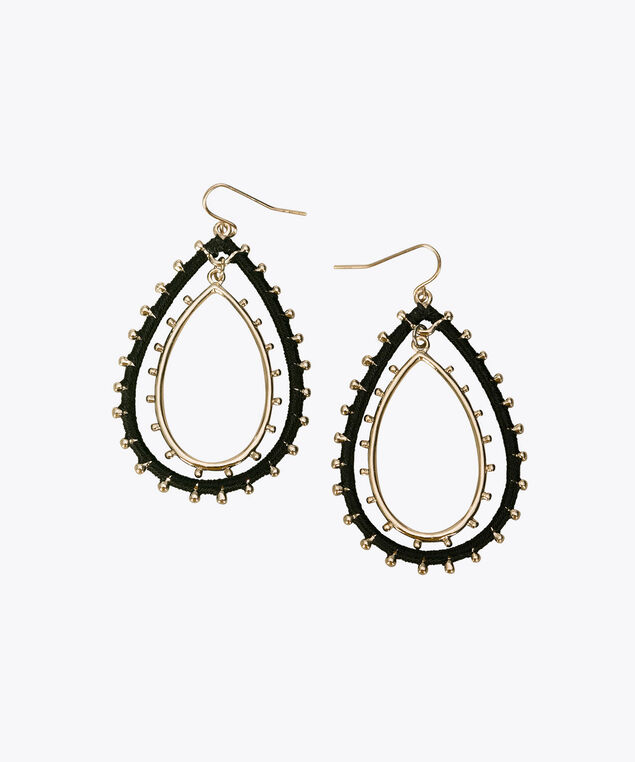 Thread Wrapped & Studded Teardrop Earring, Black/Gold, hi-res