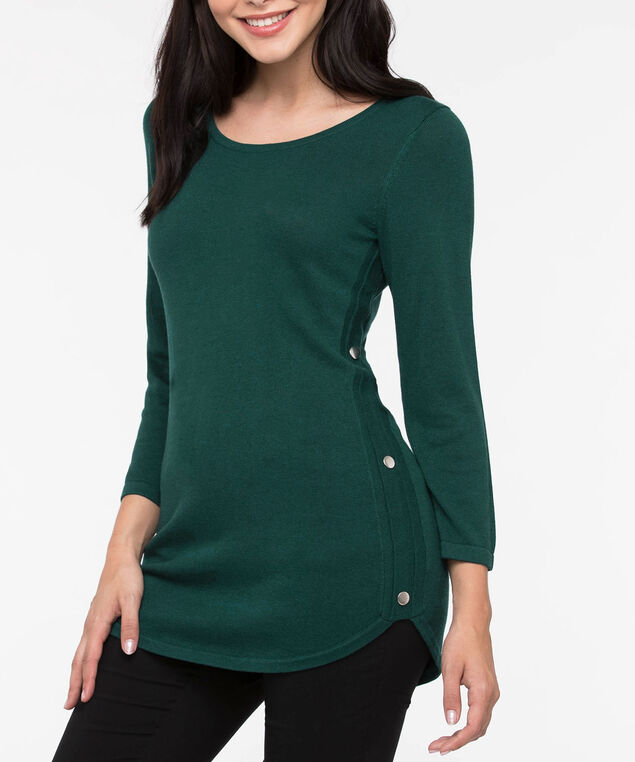 Button Trim Rounded Hem Pullover, Ivy, hi-res