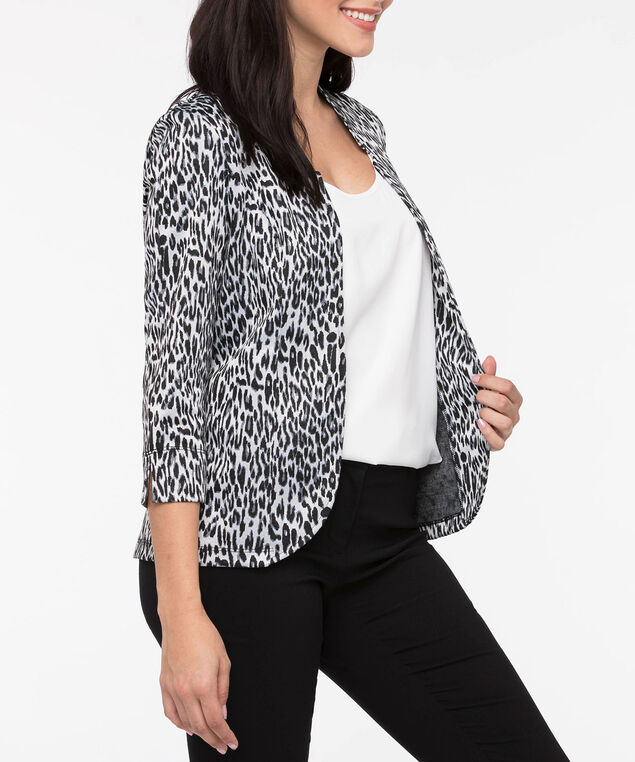 Animal Print Knit Blazer, Grey/Black, hi-res