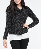 One Button Cropped Sweater Jacket, Charcoal Grey/Black, hi-res