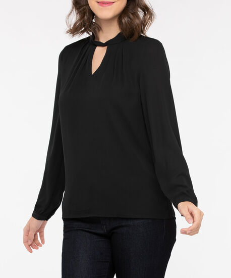 Long Sleeve Twisted Keyhole Blouse, Black, hi-res