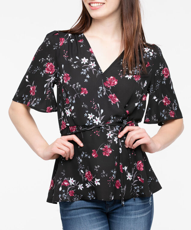 Short Sleeve Tie Waist Blouse, Black/Burgundy/Pearl, hi-res