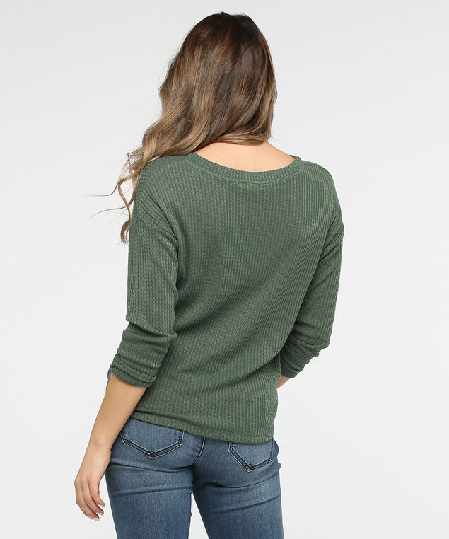 Knot Front Waffle Knit Top, Pine, hi-res