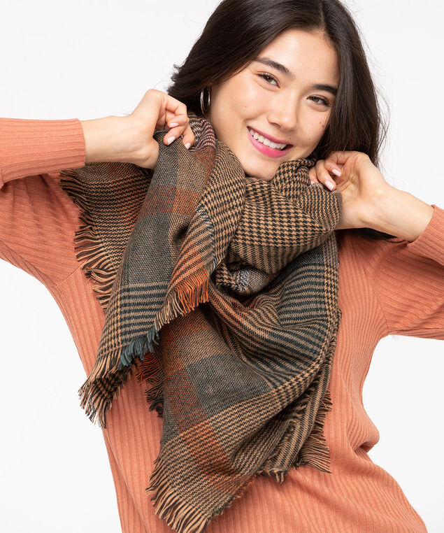 Plaid Blanket Scarf, Toffee/Pumpkin/Black