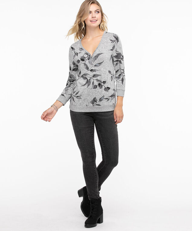 Ribbed Trim Henley Top, Grey Floral