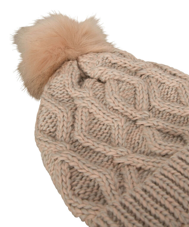 Chunky Knit & Faux Fur Toque, Iced Peach/Grey, hi-res