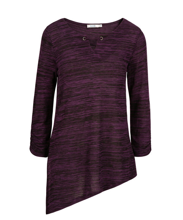 Asymmetrical Keyhole Neck Top, Blackberry Mix, hi-res