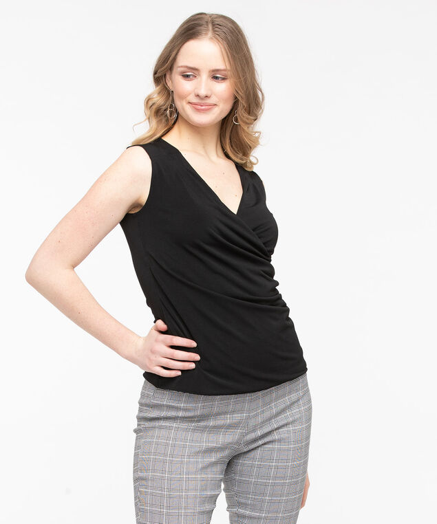 Sleeveless Wrap Front Top, Black, hi-res